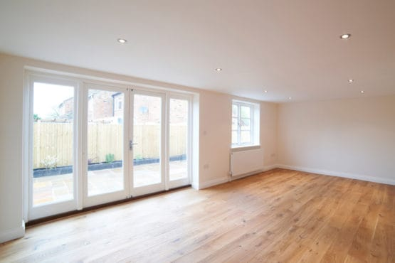 An open room with a load bearing wall removed